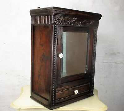 Dark Wood Medicine Wall Cabinet Apothecary  Mirror Drawer Ornate Hobnails WOW