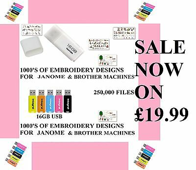 Brother Babylock Janome 16G Usb 250,00 Embroidery Designs Plus Free Gift
