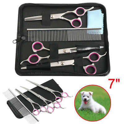 "7"" Professional Pet Grooming Scissors Dog Hair Cutting Set Curved Tool Shears"
