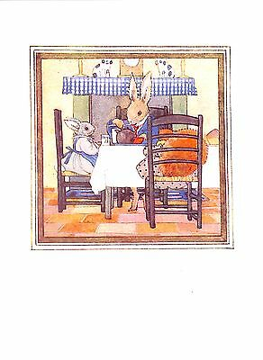 Rabbit.Squirrel.Tea.1951.M.Tempest.Fireplace.Animal.Vintage.Childrens print.Old