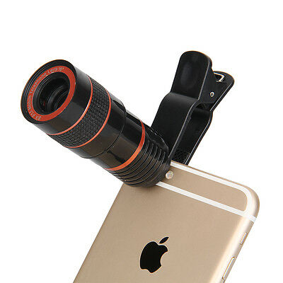 Clip-on 8x Optical Zoom Telescope Camera Lens Cam For Universal Cell Phone Black