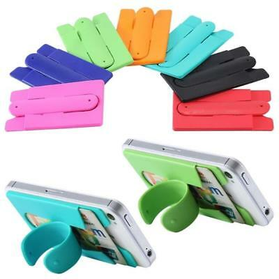 Touch Silicone Smart Stand Phone Universal Holder Sticks On Back With Card Slot