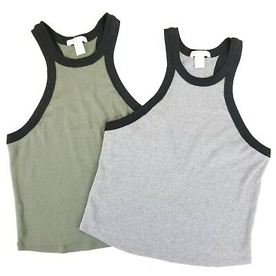 LOT OF 2 BOZZOLO Junior Size Large High Neck Crop Tanks Gray and Olive Green