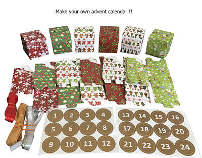 Christmas Advent Calendar Countdown to Xmas  24 small boxes,stickers and ribbon