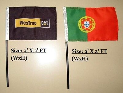 Custom rectangle flag 3'x2' with Polyester Fabric- Free design -No Hardware