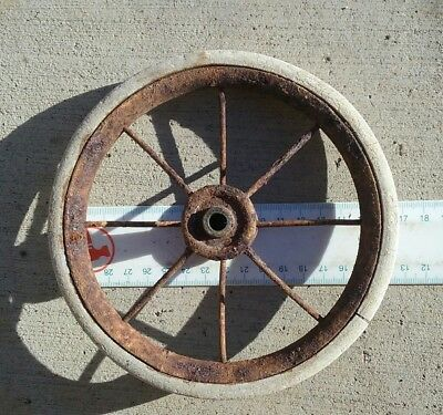 Vintage steel pram cart toy wheel .