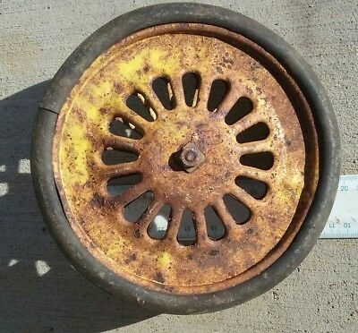 Vintage steel pram cart tricycle toy wheel.