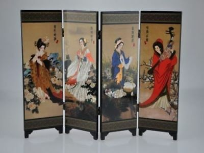 Oriental Chinese Golden Lacquer Folding Room Screen Divider Four Great Beauties