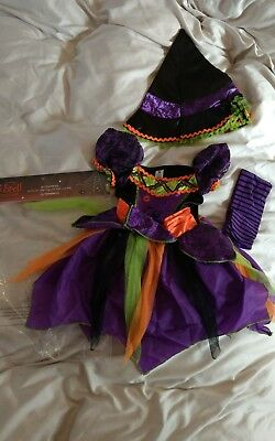 Baby girls toddler witch halloween fancy dress costume 9-12months with hat