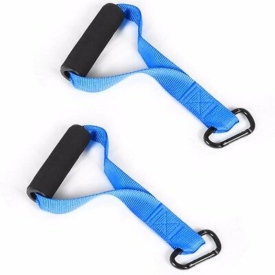 Cable Multi Gym Stirrup Handle Machine Attachment Pull Down Tricep Training Pair