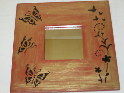 Butterflies red- gold-black mirror. Gift for her. Hand decorated.