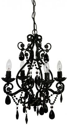 Hanging 4-Light Black Mini Chandelier Classic Vintage-Style Metal Framed Bedroom