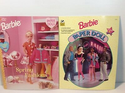 Barbie Paper Dolls Lot of 2 New Uncut Spring Fashions + Cafe 1990's Golden Book