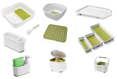 Silicon Soft Touch Green White Plastic Dish Drainer Bowl Sink Tidy Brush Tray