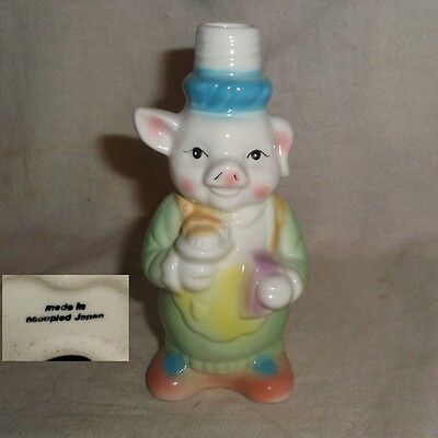 rare OCCUPIED JAPAN colorful glass CUTE HUNGRY PIGGY BOTTLE no damage nos