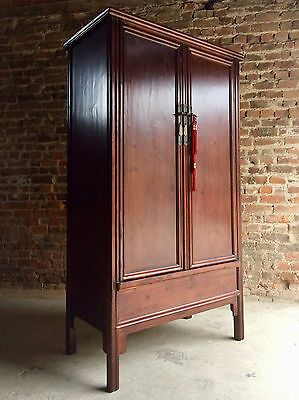 Beautiful Antique Style Chinese Wardrobe Cupboard Cabinet Stained Pine Tall