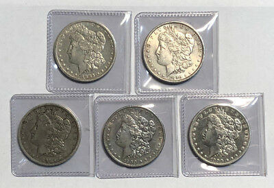 A Lot of 5 Circulated $1 Pre 1921 Morgan Silver Dollars