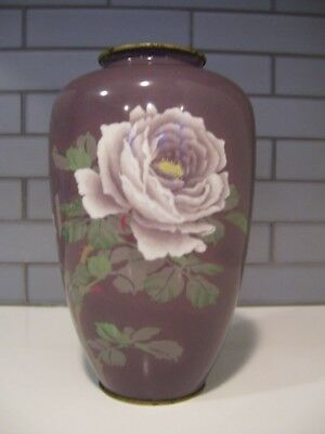 Large Signed Japanese Wireless Cloisonne Vase White Roses Vintage