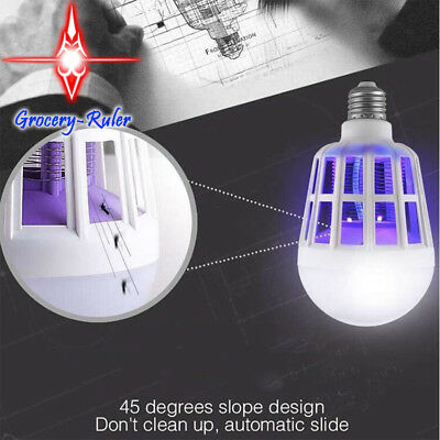 E27/15W LED Zapper Anti Mosquito Light Bulb Lamp Flying Insects Moths Killer