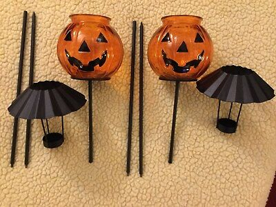Home Interiors Decorative Pumpkin Candle Stakes