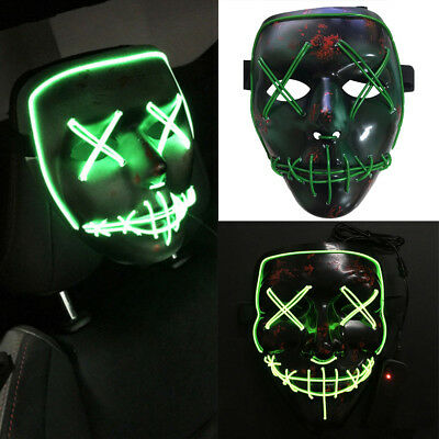 1PC Halloween The Purge Movie EL Wire DJ Party Festival Cosplay Costume LED Mask