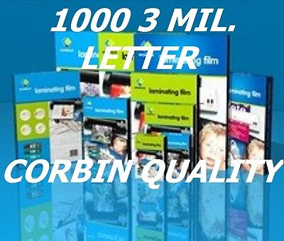 Ultra Clear Letter Thermal Laminating Laminator Pouches (1000) 9 x 11-1/2 3 Mil