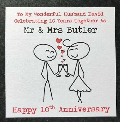Personalised Wedding Anniversary Card Husband Wife 1st 2nd 10th 15th 20th Any