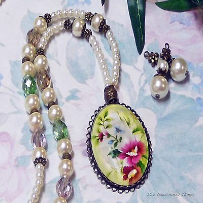 White Pearls Pink Green cameo pendant long necklace set clip on or pierced