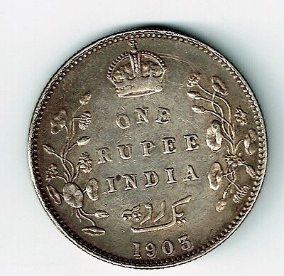 India British 1903 B One Rupee King Edward Vii .917 Silver Coin Bombay Mint