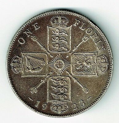 Great Britain 1923 One Florin Two Shillings King George V Silver Coin