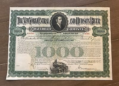 1920 New York Central And Hudson River Railroad Company 1K Bond Certificate