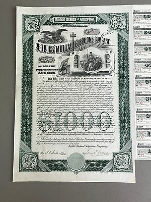 1898 Peoples' Mutual Telephone Co. Stock Cert. Rare Ca Nice Vignettes!