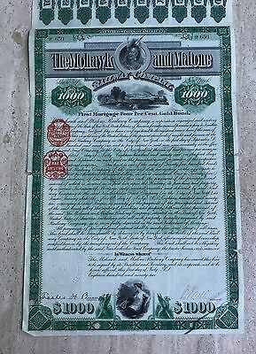 1892 The Mohawk and Malone Railway Company 1K Bond Certificate