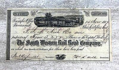 1867 Savannah,  GA South Western Rail Road Company Stock Certificate 4 Shares