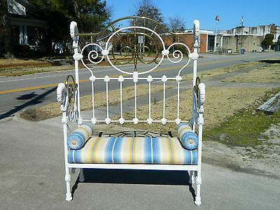 Victorian Iron and Brass Bed Bench Settee circa 1900