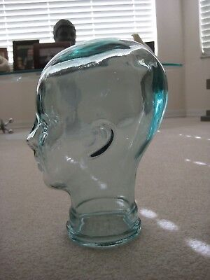 Vintage Heavy Green Glass 11 1/2 Inch Mannequin Head For Display Hats Wigs old