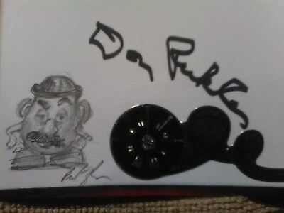Pixar Mr. Potato Head drawing by animator and Don Rickles autograph on 3x5 card