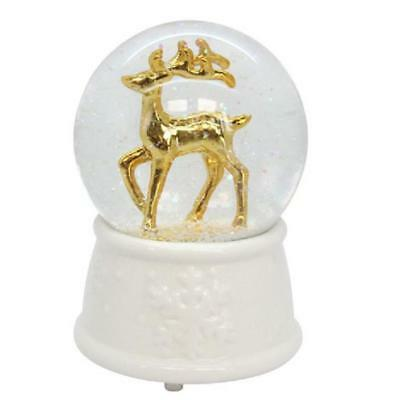 Glass Reindeer Stag Christmas Music Waterball Snowglobe Dome Festive Xmas Gift