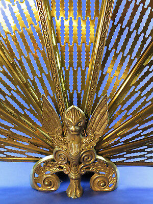 Vintage Art Deco Brass Fan Tail Peacock Phoenix Griffin Fire Screen Guard