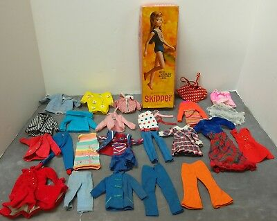 Lot of Vintage 1963 Mattel Barbie Sister Skipper Box Filled with Clothing