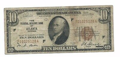 1929 Federal Reserve Bank ATLANTA $10 National Currency Note