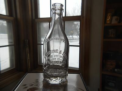 Vtg H NEHRING & SONS Clear Glass Advertising Soda Bottle ~ Fond du Lac Wisconsin