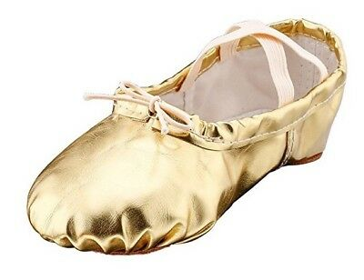 MSMAX Girls Pu Ballet Dancing Shoes With Split Soft Sole Gold 9M