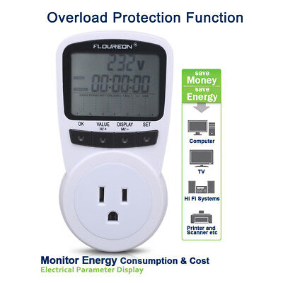 US Plug In Energy Power Meter Electricity Monitor Analyzer Overload Protection