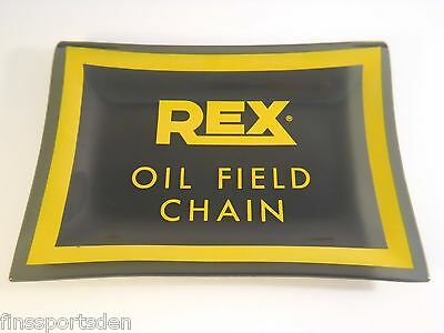 REX OIL FIELD CHAIN Advertising Glass Tray ~ Rexnord Corp Milwaukee Wisconsin