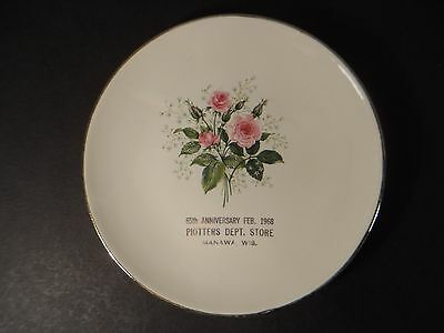 Vintage 1968 PIOTTERS DEPT STORE Advertising Plate ~ Manawa Wisconsin ~ 5 7/8""