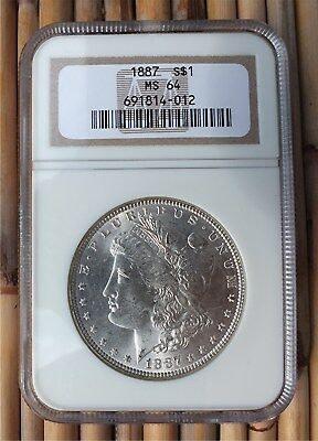 Morgan Silver Dollar - 1887 P - Ngc Graded Ms64, Nice Coin & Holder. 691814-012