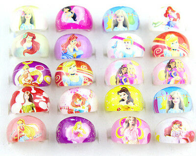 10pcs Mixed Princess Barbie Girls Kids Children Resin Lucite Rings Party Gifts