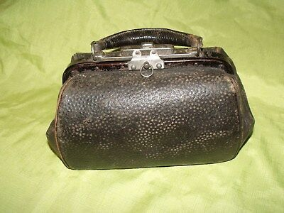 Antique  Vintage miniature   Black Leather Patina Worn Doctors   Medical  case