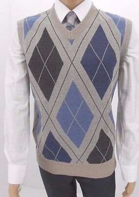 Men's True Rock V-Neck  Argyle Grey & Blue Sweater Vest $14.99